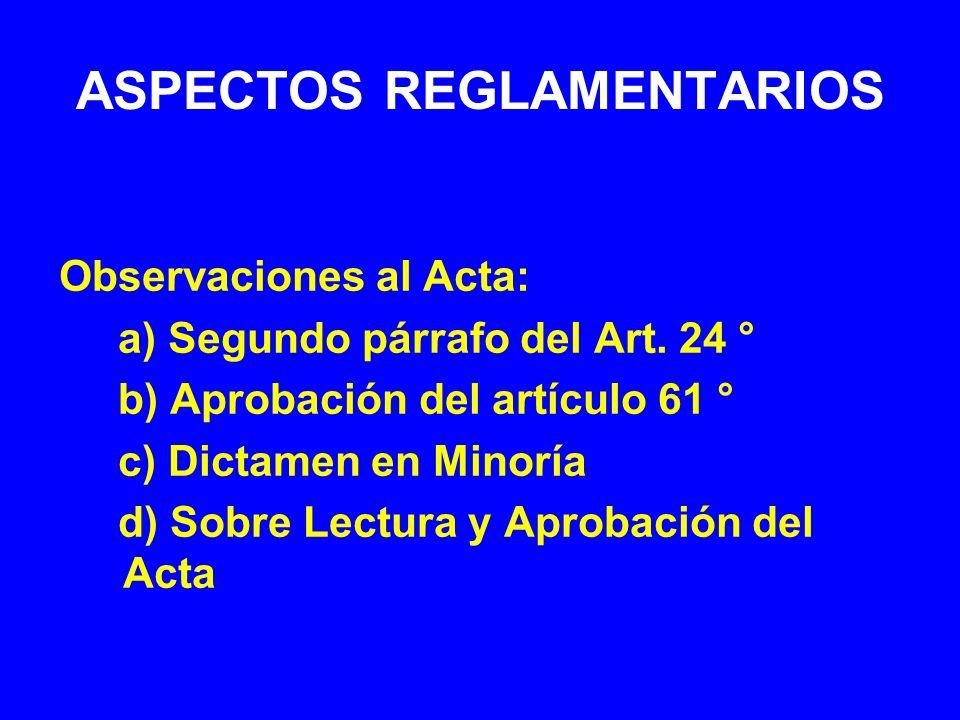 ASPECTOS REGLAMENTARIOS