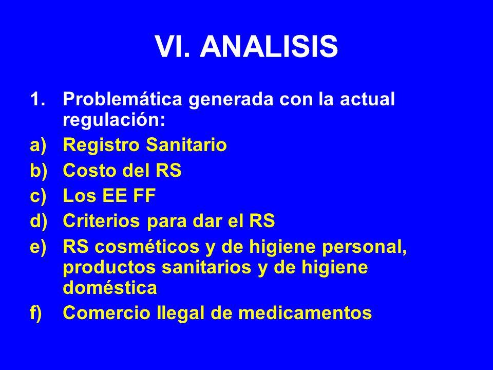 VI. ANALISIS Problemática generada con la actual regulación: