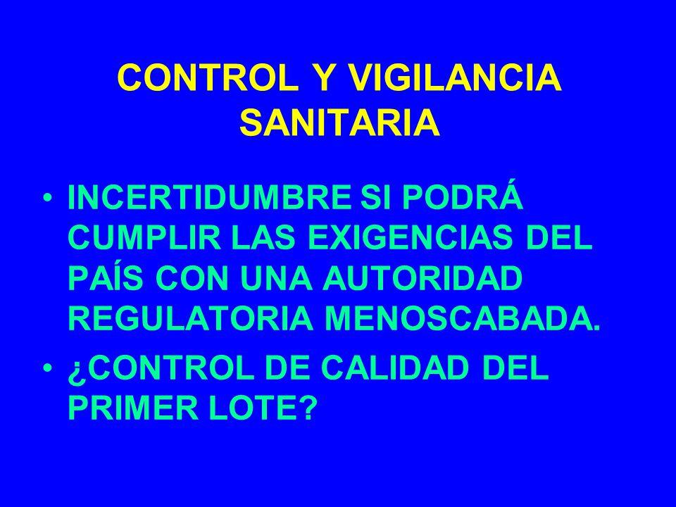 CONTROL Y VIGILANCIA SANITARIA