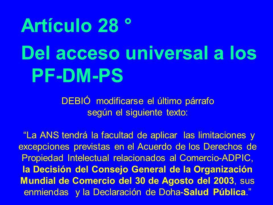 Del acceso universal a los PF-DM-PS