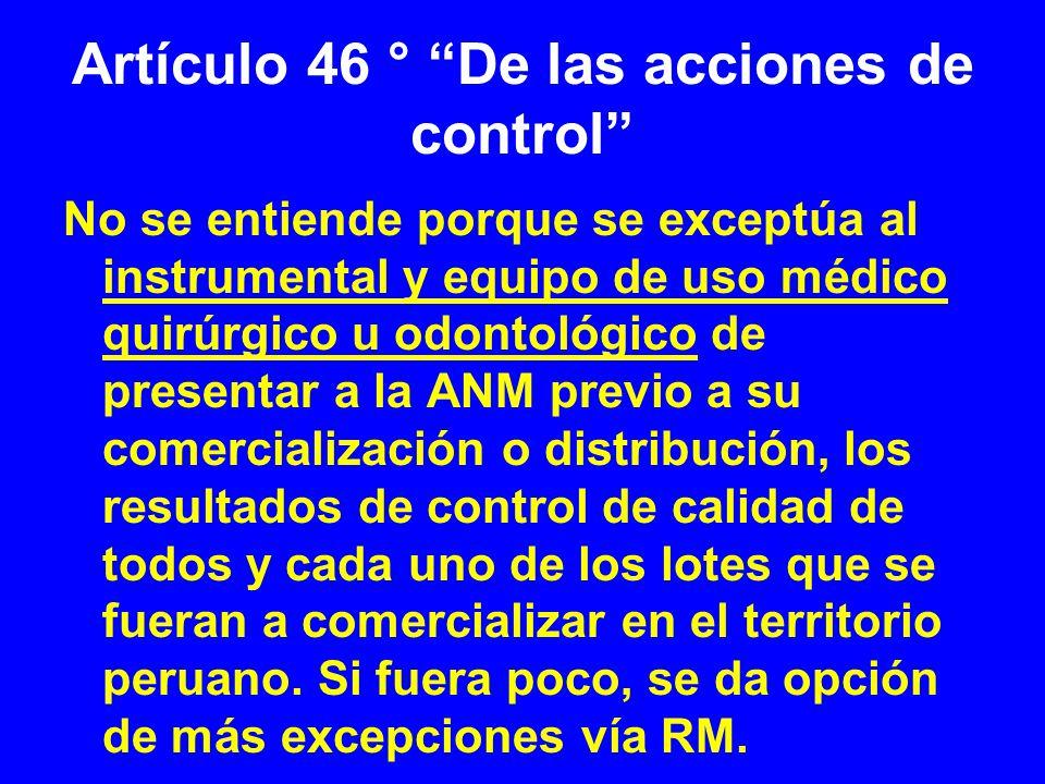 Artículo 46 ° De las acciones de control