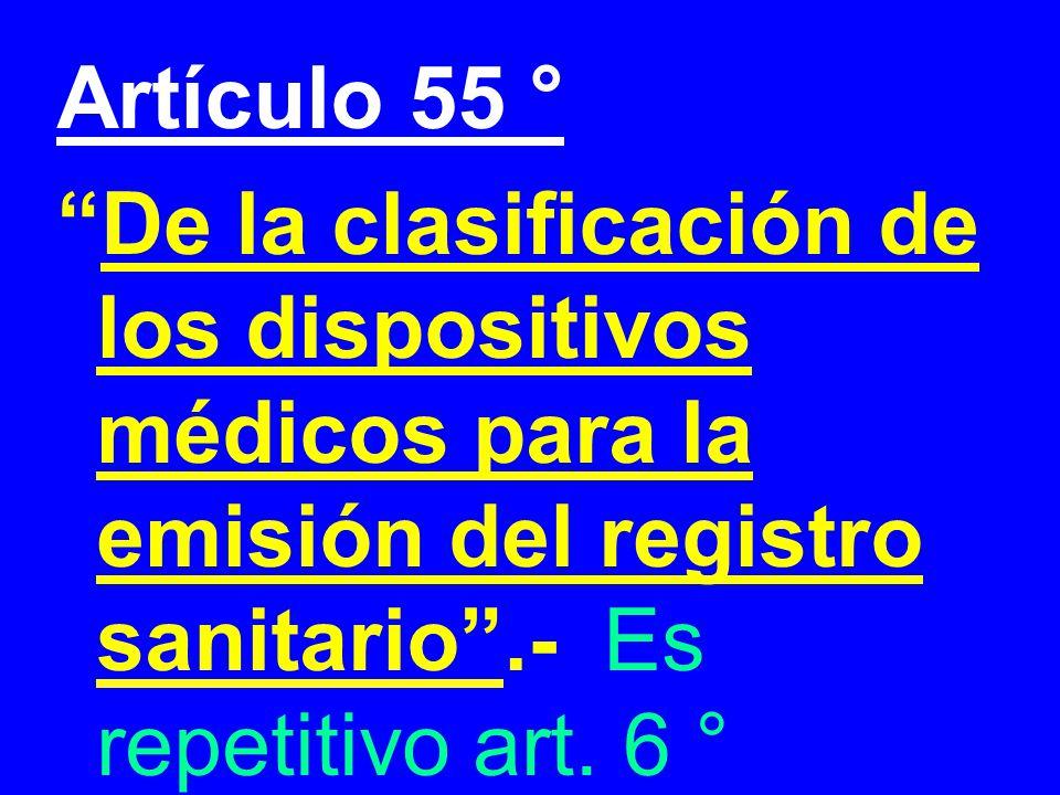 Artículo 55 ° De la clasificación de los dispositivos médicos para la emisión del registro sanitario .- Es repetitivo art.