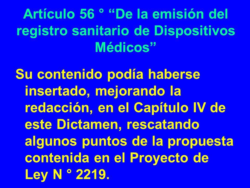Artículo 56 ° De la emisión del registro sanitario de Dispositivos Médicos