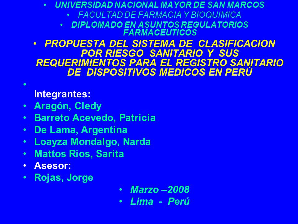 Barreto Acevedo, Patricia De Lama, Argentina Loayza Mondalgo, Narda