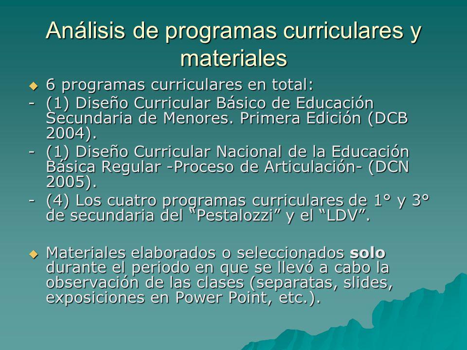 Análisis de programas curriculares y materiales