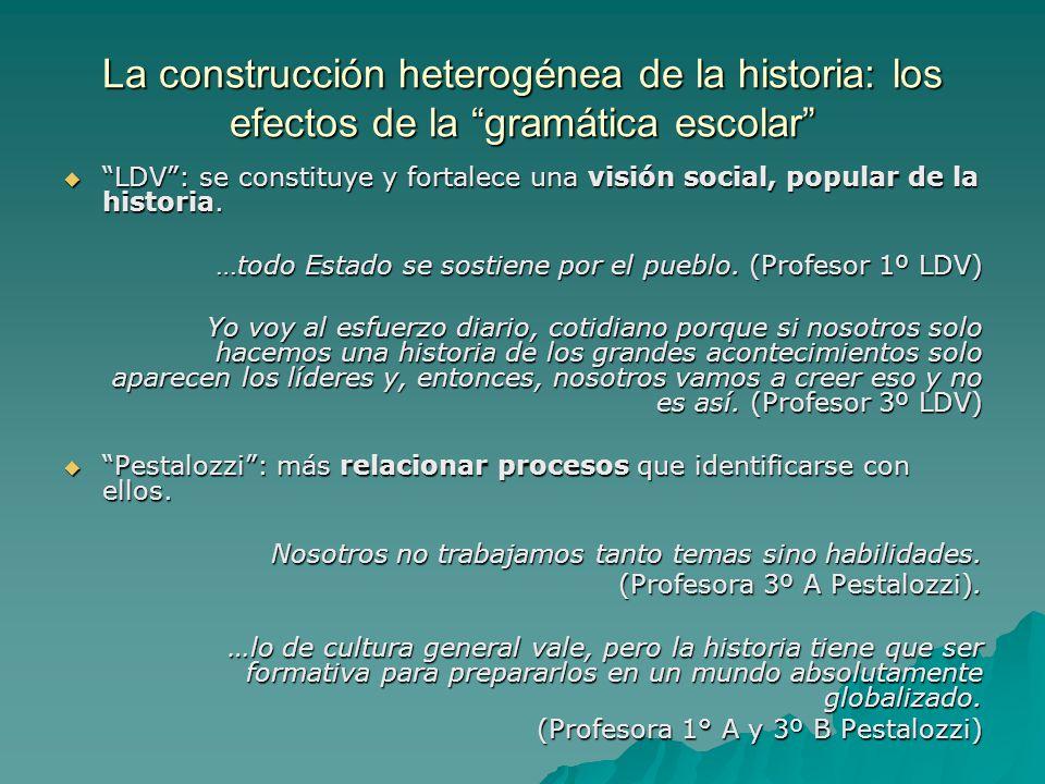 La construcción heterogénea de la historia: los efectos de la gramática escolar