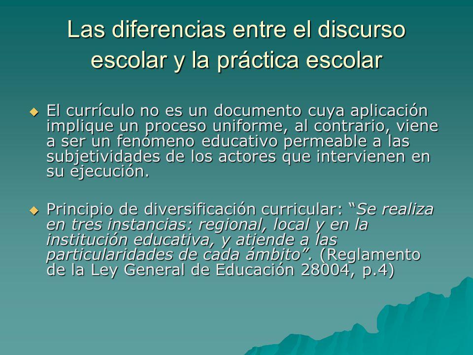 Las diferencias entre el discurso escolar y la práctica escolar