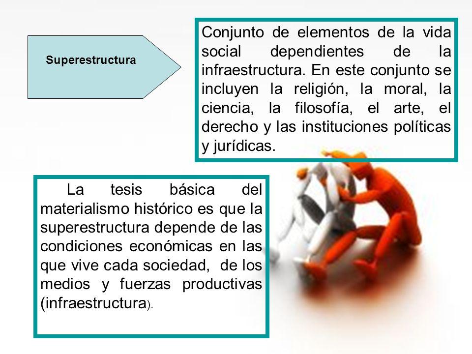 Conjunto de elementos de la vida social dependientes de la infraestructura. En este conjunto se incluyen la religión, la moral, la ciencia, la filosofía, el arte, el derecho y las instituciones políticas y jurídicas.