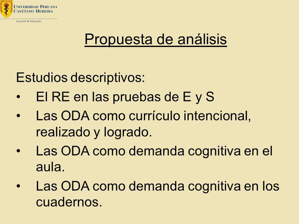 Propuesta de análisis Estudios descriptivos:
