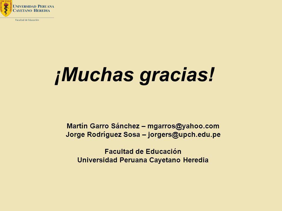 ¡Muchas gracias! Martín Garro Sánchez – mgarros@yahoo.com