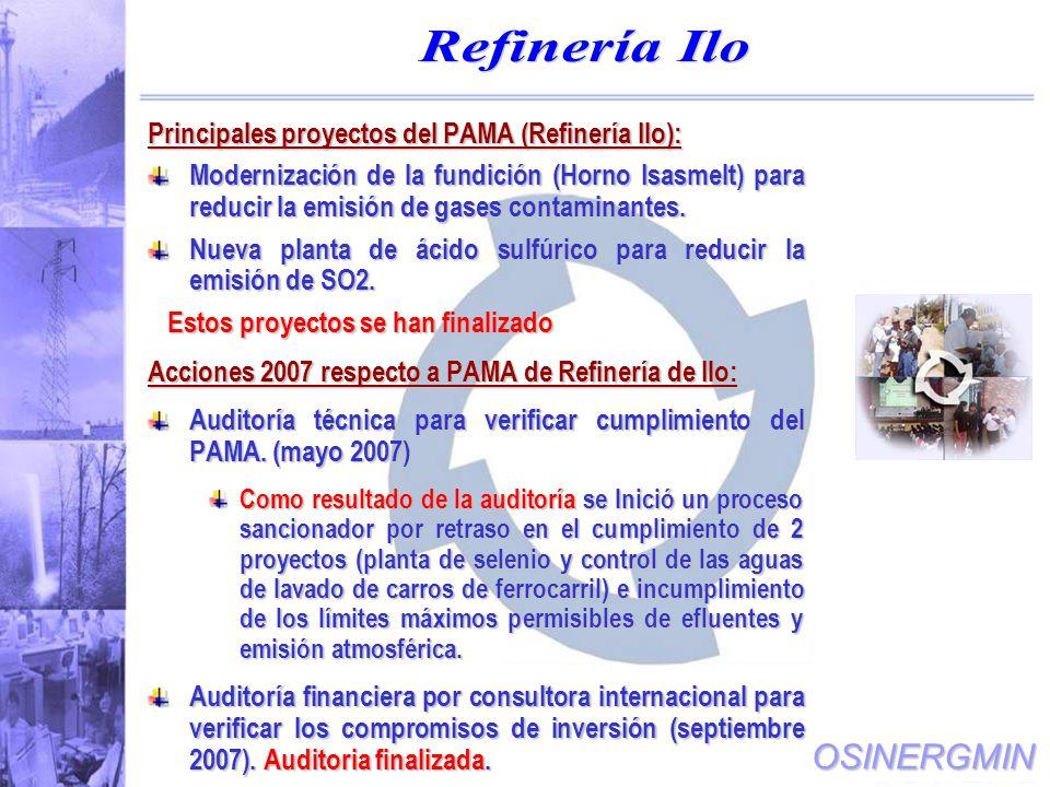 Refinería Ilo Principales proyectos del PAMA (Refinería Ilo):