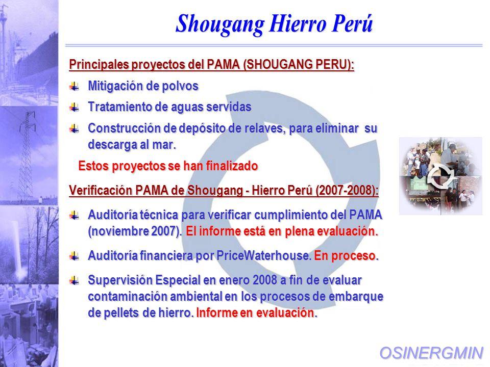 Shougang Hierro Perú Principales proyectos del PAMA (SHOUGANG PERU):
