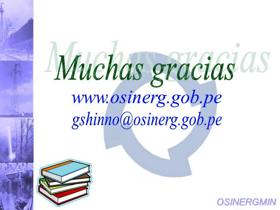 Muchas gracias www.osinerg.gob.pe gshinno@osinerg.gob.pe