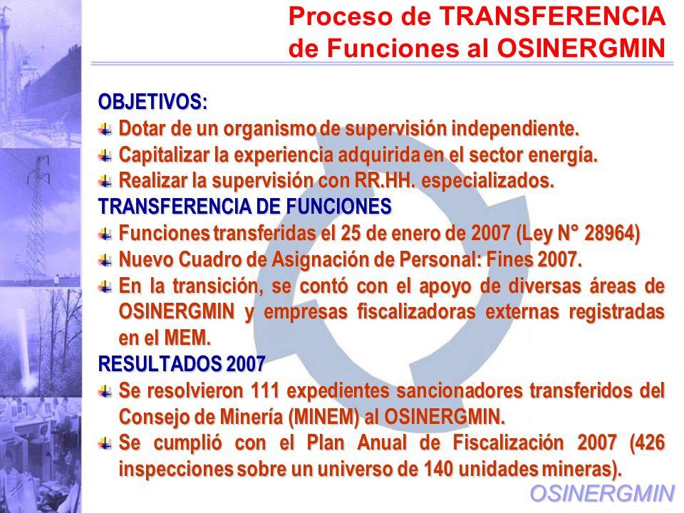 Proceso de TRANSFERENCIA de Funciones al OSINERGMIN
