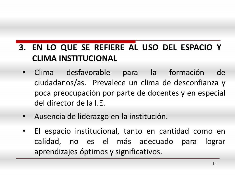 EN LO QUE SE REFIERE AL USO DEL ESPACIO Y CLIMA INSTITUCIONAL