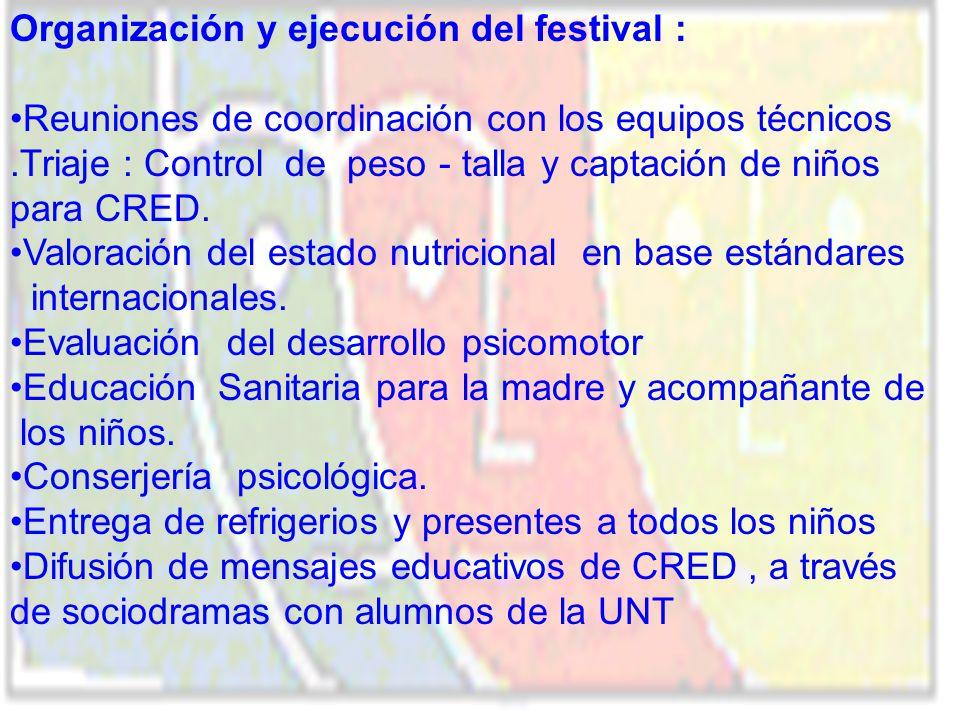 Organización y ejecución del festival :