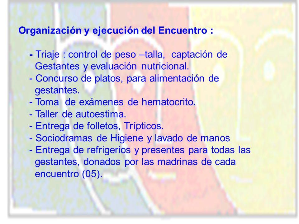 Organización y ejecución del Encuentro :