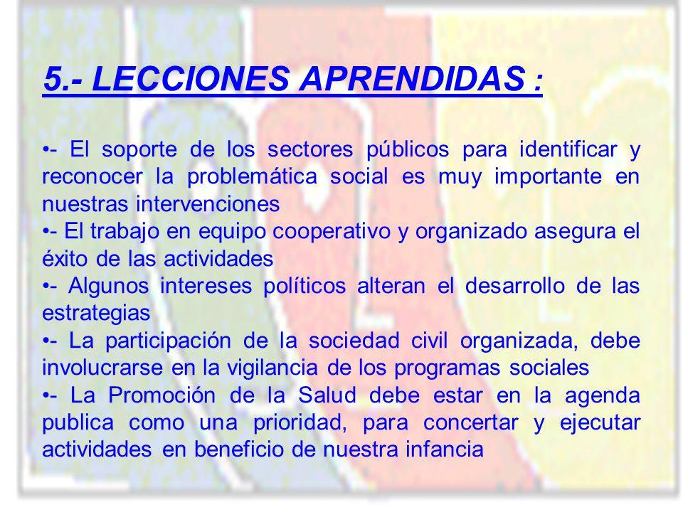 5.- LECCIONES APRENDIDAS :