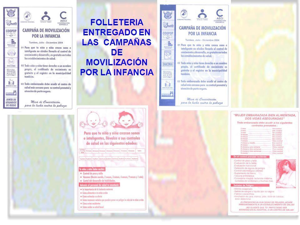 FOLLETERIA ENTREGADO EN LAS CAMPAÑAS DE MOVILIZACIÓN POR LA INFANCIA