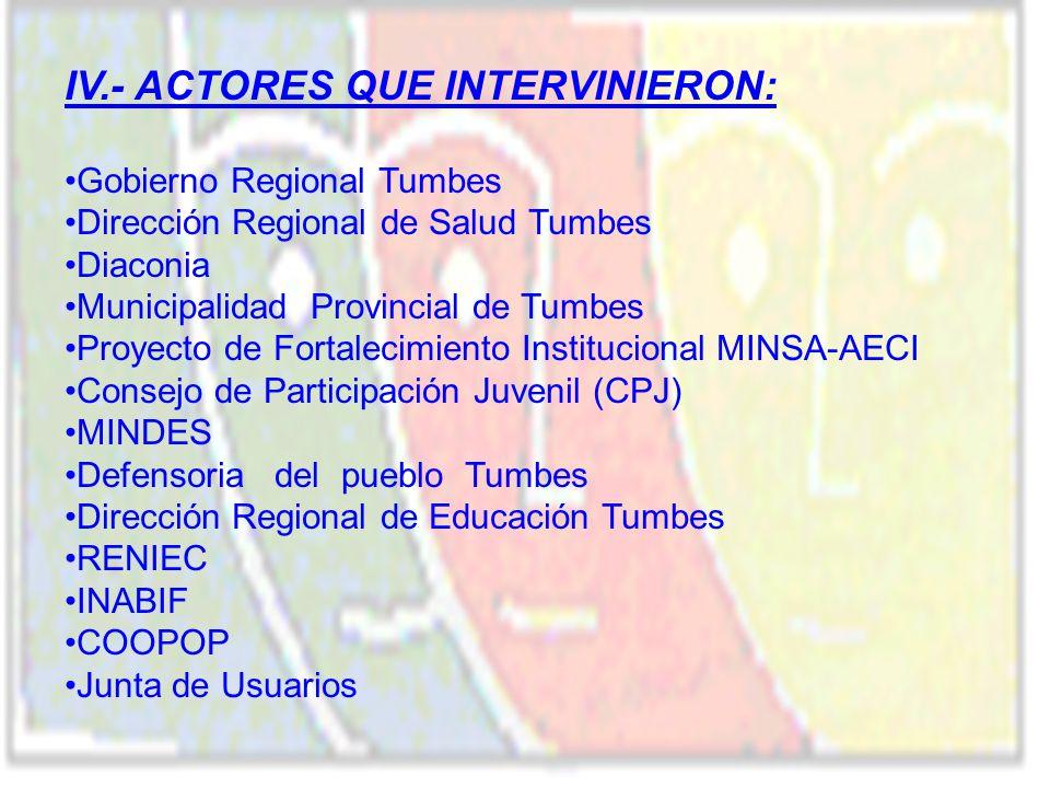IV.- ACTORES QUE INTERVINIERON: