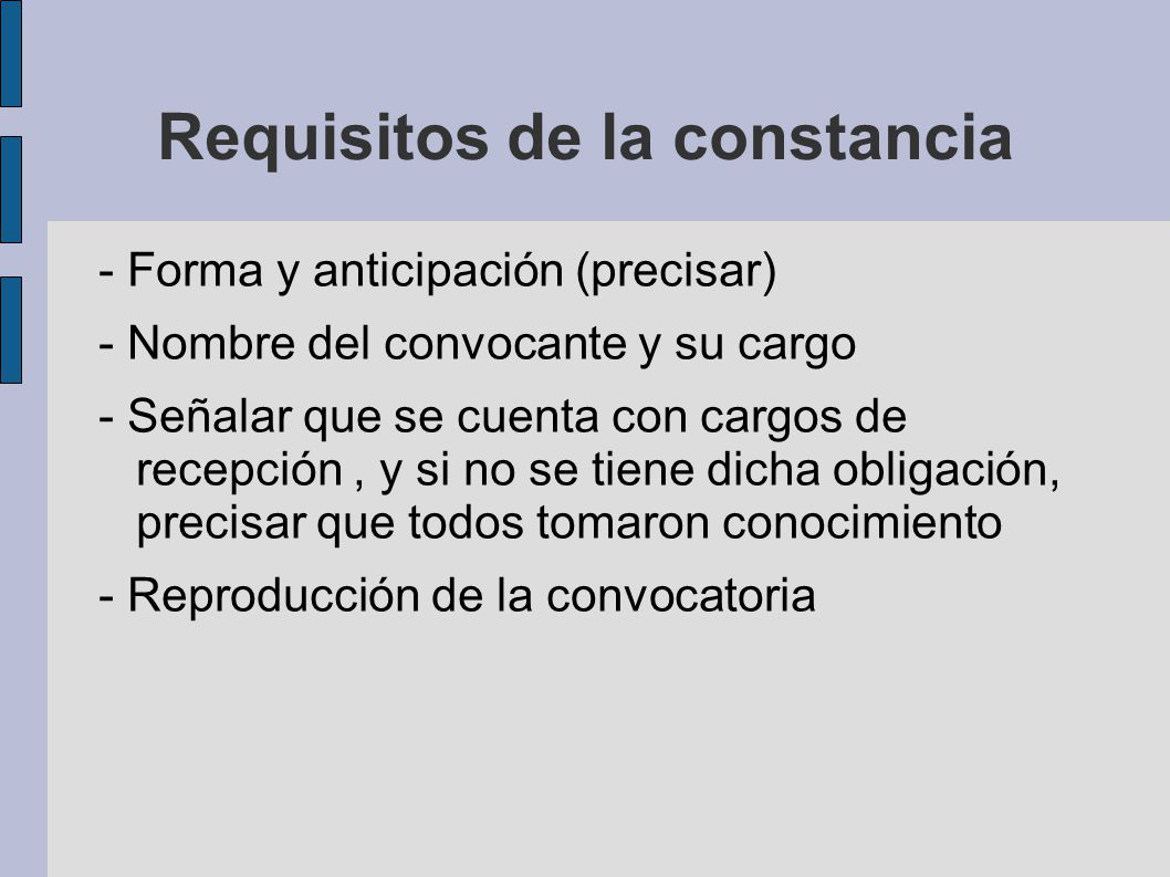 Requisitos de la constancia