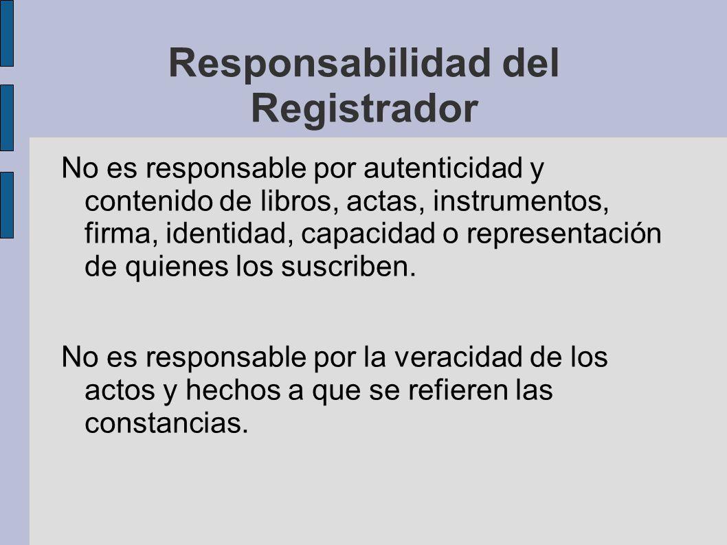 Responsabilidad del Registrador