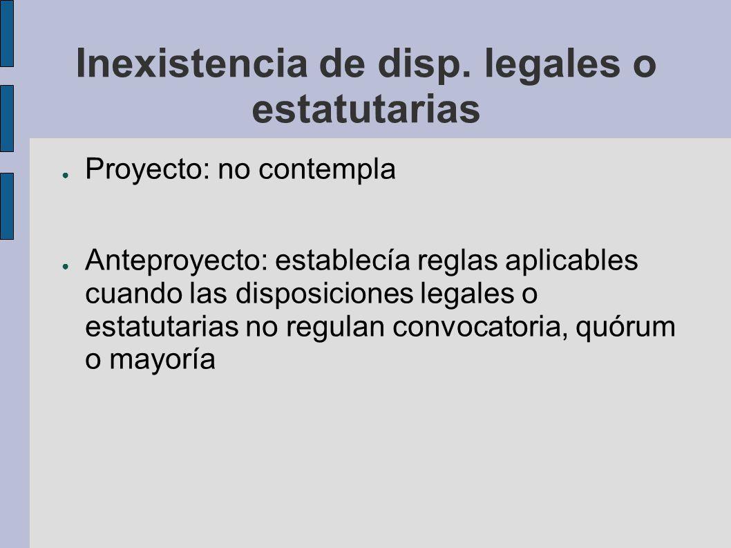 Inexistencia de disp. legales o estatutarias