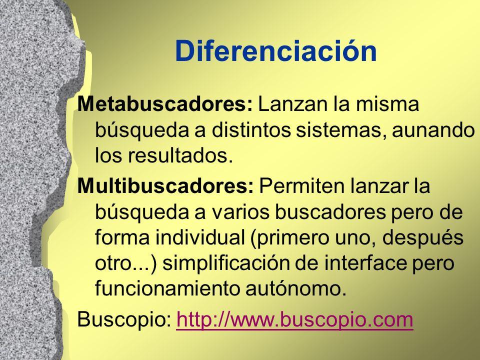 DiferenciaciónMetabuscadores: Lanzan la misma búsqueda a distintos sistemas, aunando los resultados.
