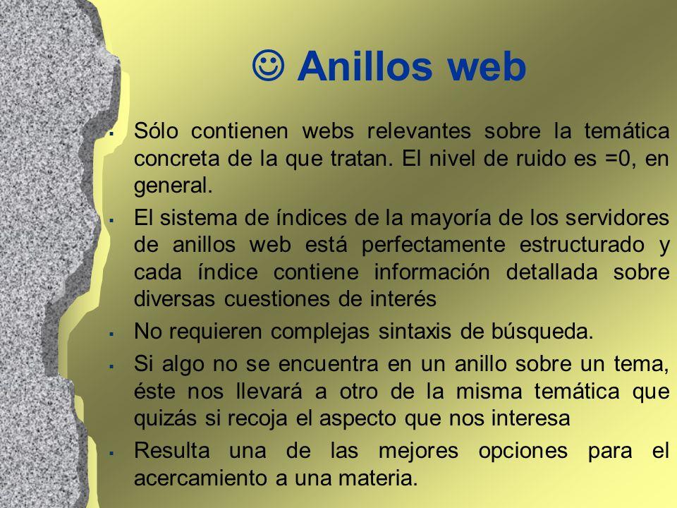  Anillos webSólo contienen webs relevantes sobre la temática concreta de la que tratan. El nivel de ruido es =0, en general.