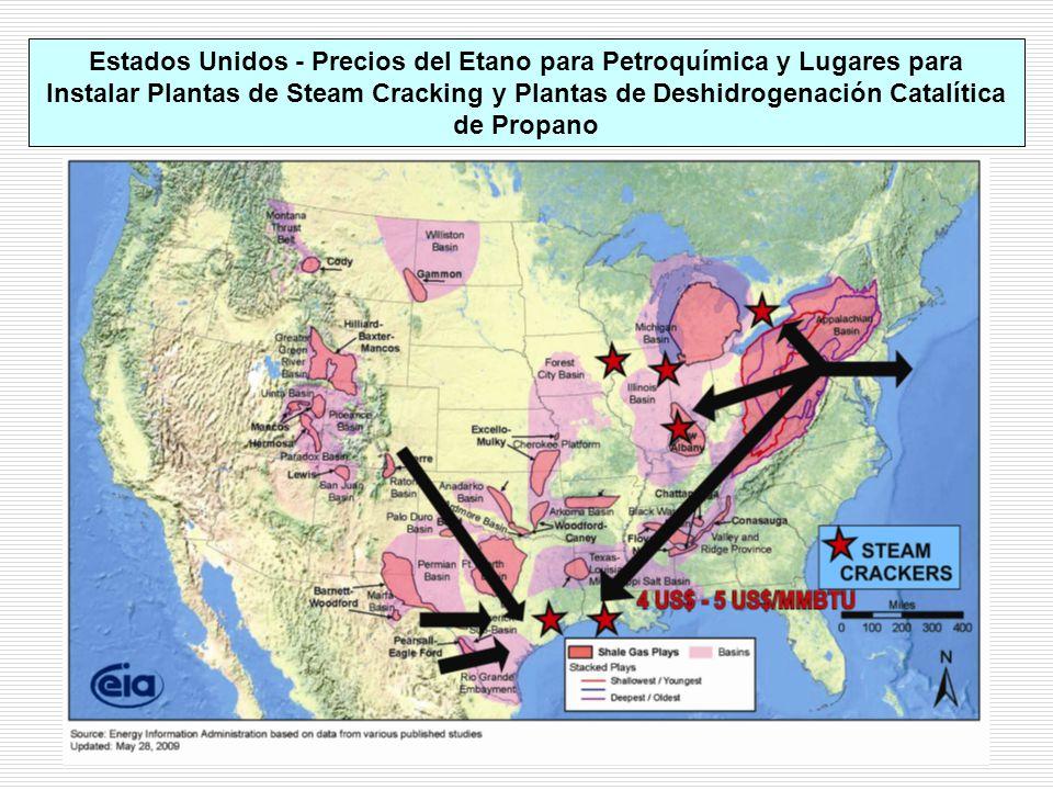 Estados Unidos - Precios del Etano para Petroquímica y Lugares para Instalar Plantas de Steam Cracking y Plantas de Deshidrogenación Catalítica de Propano