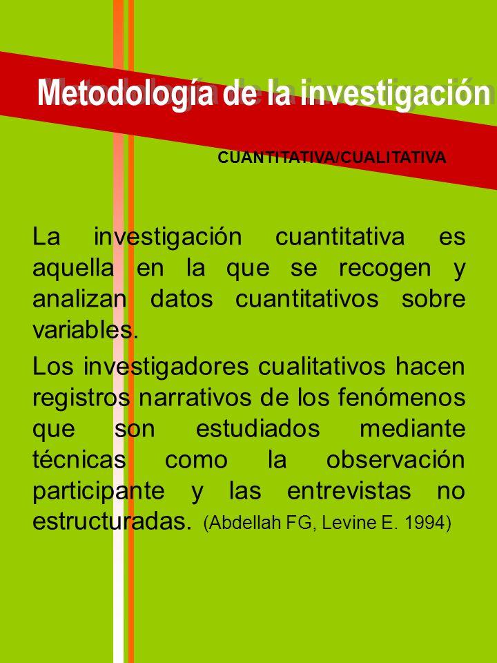 Metodología de la investigación CUANTITATIVA/CUALITATIVA