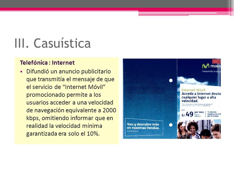 III. Casuística Telefónica : Internet
