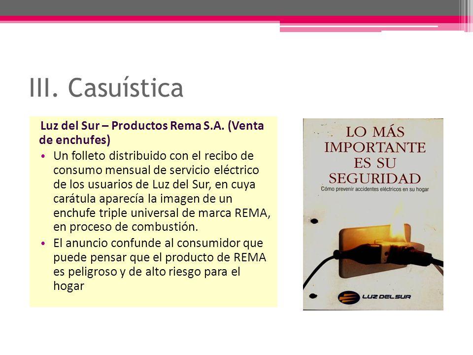 III. Casuística Luz del Sur – Productos Rema S.A. (Venta de enchufes)