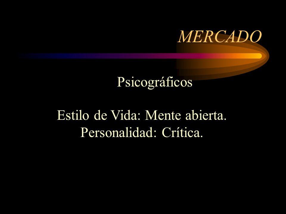 MERCADO Psicográficos Estilo de Vida: Mente abierta.