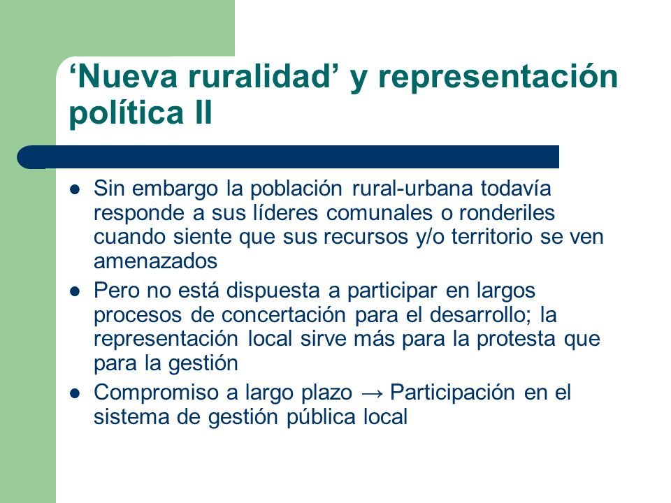 'Nueva ruralidad' y representación política II