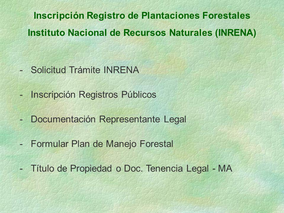 Inscripción Registro de Plantaciones Forestales