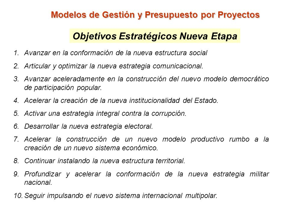 Modelos de Gestión y Presupuesto por Proyectos