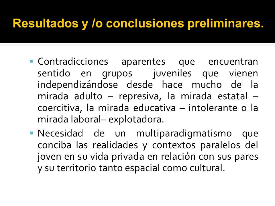 Resultados y /o conclusiones preliminares.