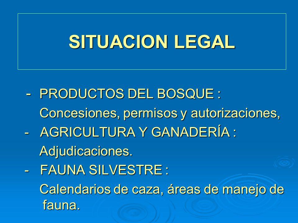 SITUACION LEGAL - PRODUCTOS DEL BOSQUE :