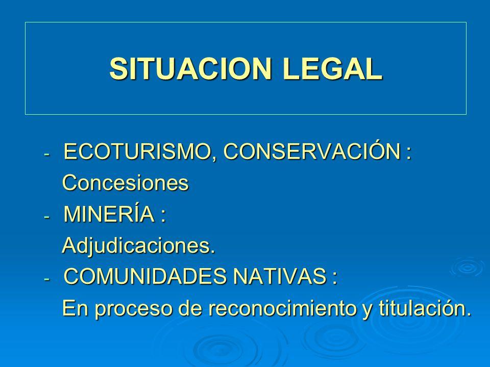 SITUACION LEGAL ECOTURISMO, CONSERVACIÓN : Concesiones MINERÍA :