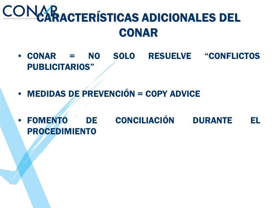CARACTERÍSTICAS ADICIONALES DEL CONAR