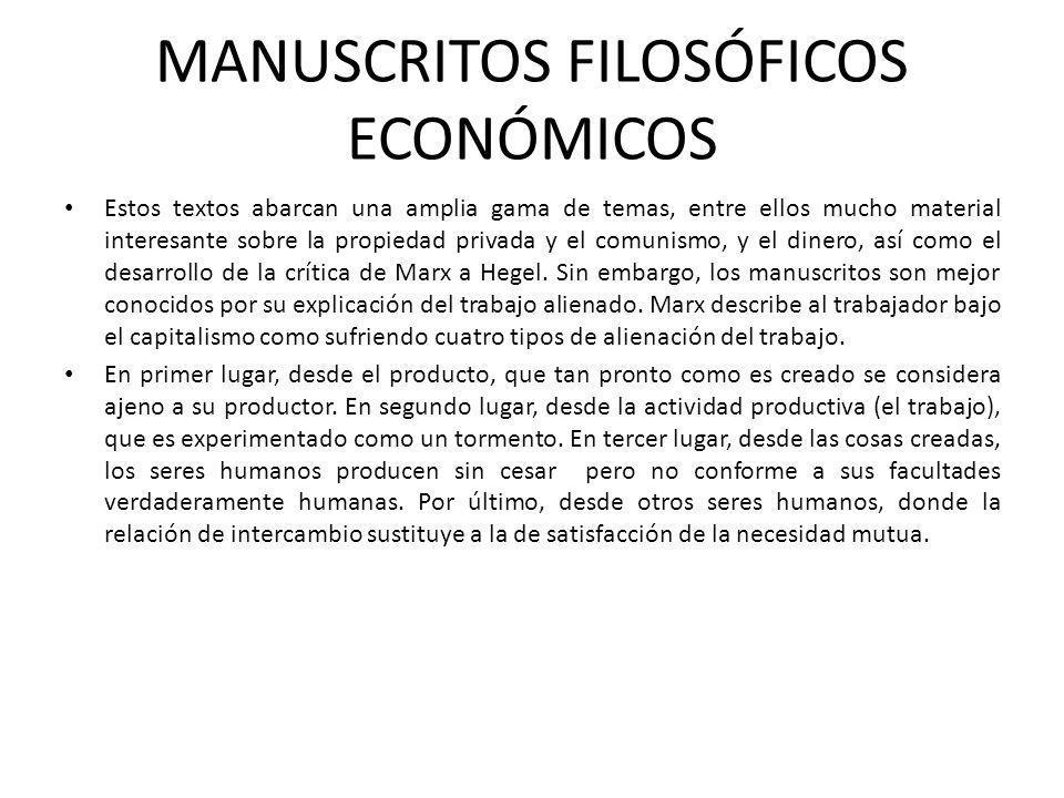 MANUSCRITOS FILOSÓFICOS ECONÓMICOS
