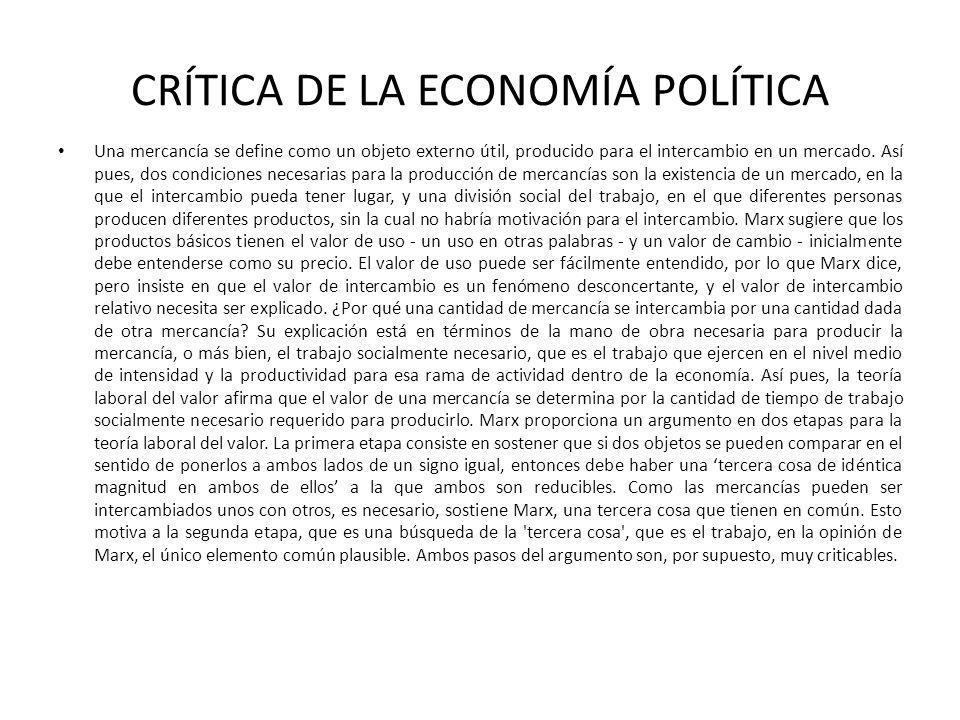 CRÍTICA DE LA ECONOMÍA POLÍTICA