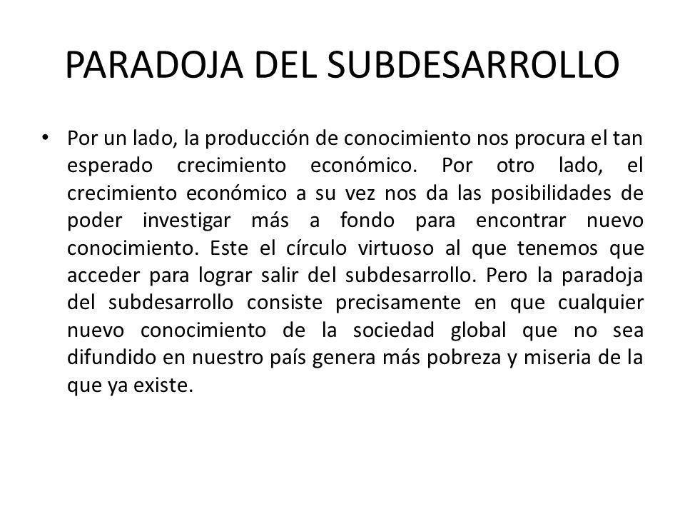 PARADOJA DEL SUBDESARROLLO