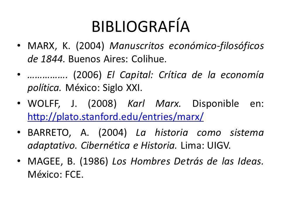 BIBLIOGRAFÍA MARX, K. (2004) Manuscritos económico-filosóficos de 1844. Buenos Aires: Colihue.