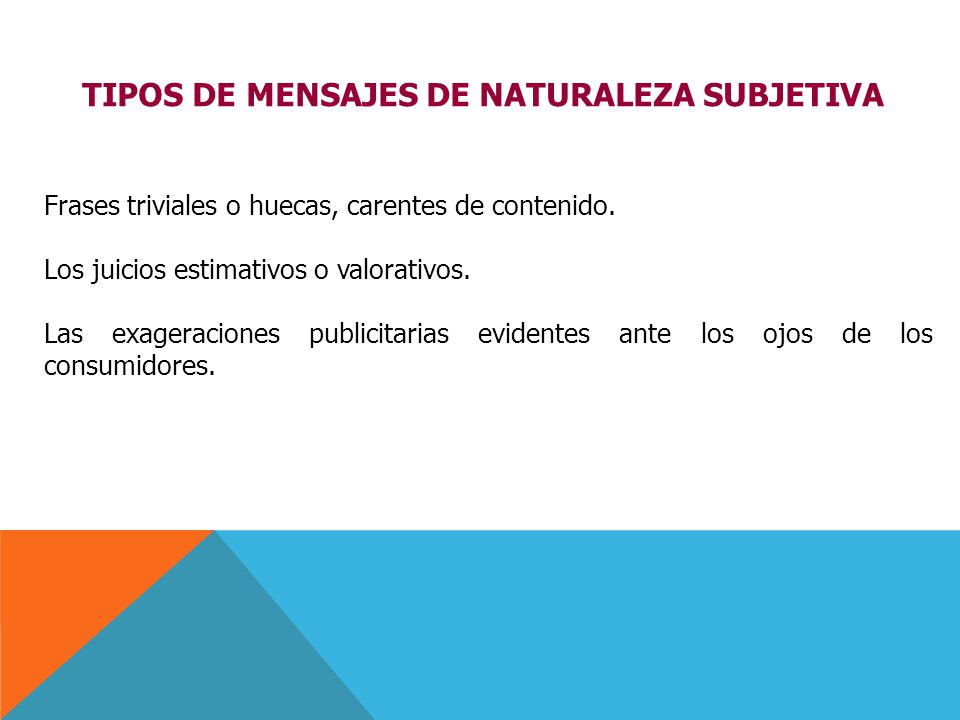 TIPOS DE MENSAJES DE NATURALEZA SUBJETIVA