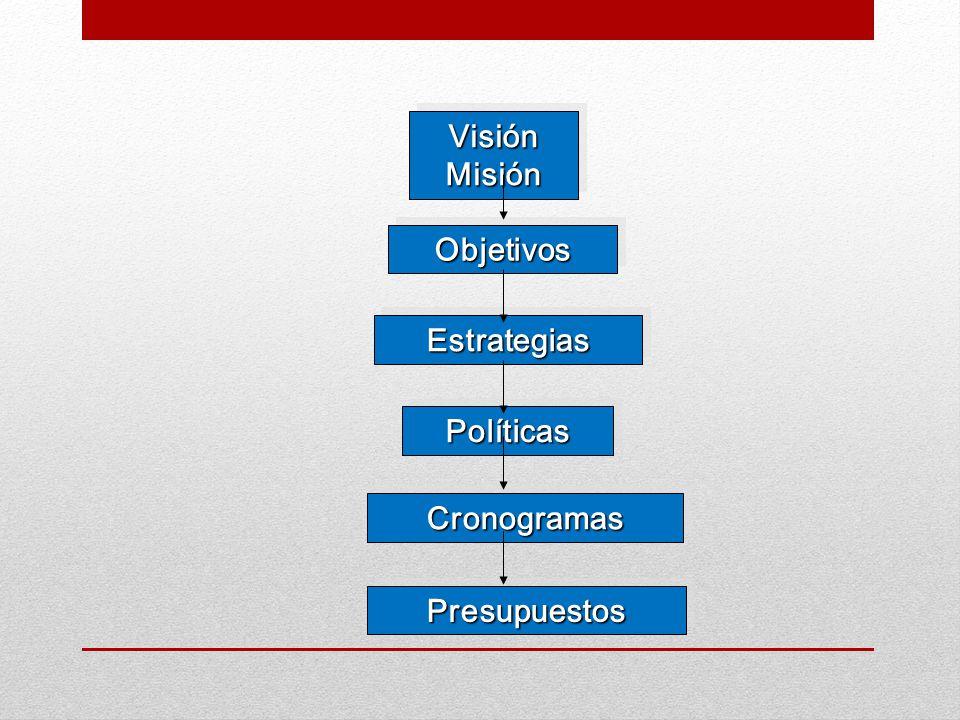 Visión Misión Objetivos Estrategias Políticas Cronogramas Presupuestos