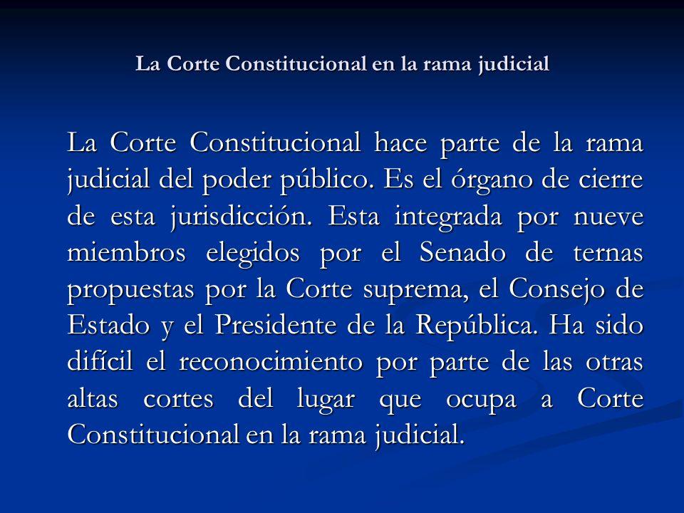 La Corte Constitucional en la rama judicial