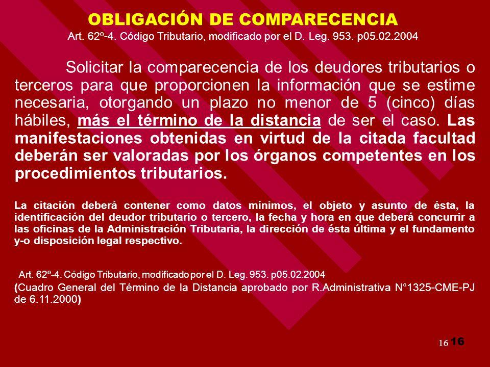 OBLIGACIÓN DE COMPARECENCIA