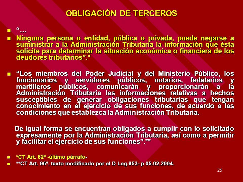 OBLIGACIÓN DE TERCEROS